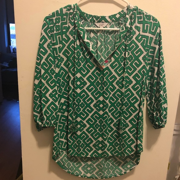 crown and ivy Tops - Green preppy blouse